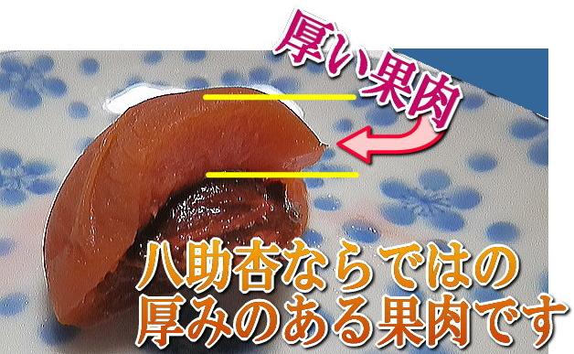 プリッとした果肉。八助杏ならではの厚みのある果肉です。